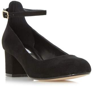 Dune Black 'Allie' Block Heel Ankle Strap Court Shoes