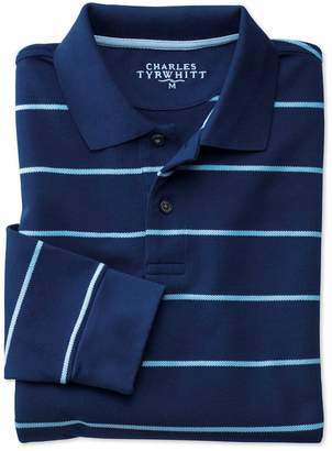 Charles Tyrwhitt Blue and Sky Stripe Pique Long Sleeve Cotton Polo Size Medium
