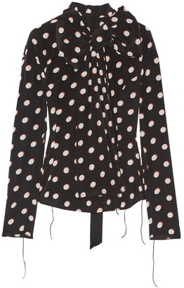 Marc Jacobs - Pussy-bow Polka-dot Silk Crepe De Chine Blouse - Black $450 thestylecure.com