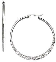 """Steel by Design Stainless Steel 1-5/8"""" Textured Hoop Earrings"""