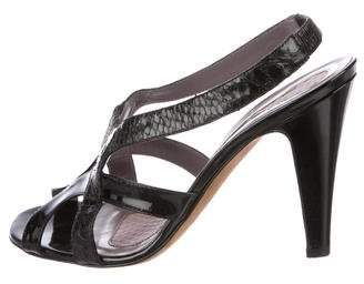 Anya Hindmarch Patent Leather Snakeskin-Accented Sandals