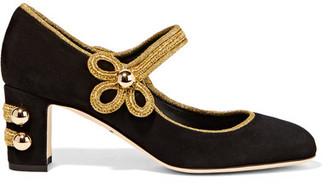 Dolce & Gabbana - Embellished Suede Mary Jane Pumps - Black $945 thestylecure.com
