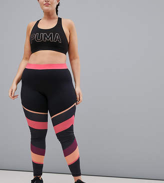 South Beach Plus Gym Leggings In Pink Stripe