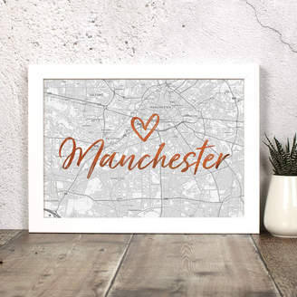 Well Bred Design Personalised Map Print With Location In Foil