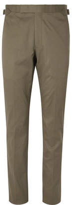 Army-Green Stretch-Cotton Twill Suit Trousers