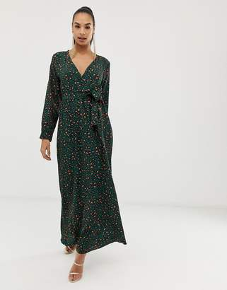 Club L London wrap front leopard maxi dress