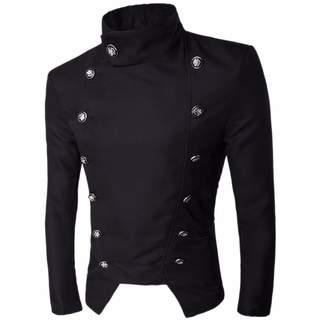 QIYUN.Z Men's Gentlemen Style Stand Collar Suit Jacket Short Coat Blazer