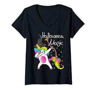 b-ROOM Womens Cute Dabbing Unicorn Gifts Witches Hat Broom Magic Halloween V-Neck T-Shirt