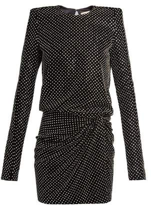 Saint Laurent Crystal Embellished Square Shoulder Dress - Womens - Black