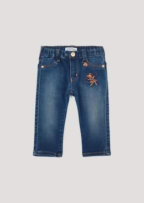 Emporio Armani Stretch Cotton Denim Jeans With Cheerleader Embroidery
