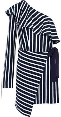 Goen.j One-Shoulder Striped Cotton-Jersey Wrap Mini Dress