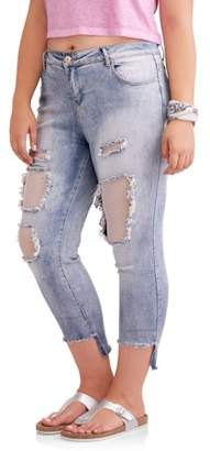 Elite Jeans Junior's Plus Destructed Skinny with Fishnets and Step Hem