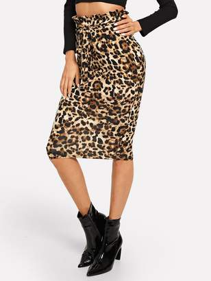 927cd3bf7c Shein Ruffle Detail Belted Leopard Print Skirt