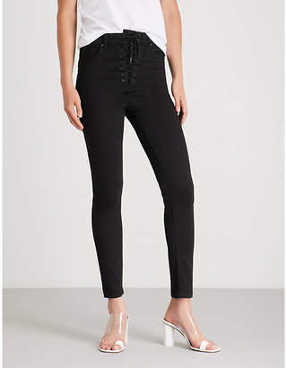 Mo&Co. Lace-up waist stretch-denim skinny jeans