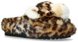 Dolce & Gabbana Fluffy Leopard Slippers