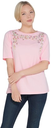 Factory Quacker Apple Blossom Embroidered Elbow Sleeve Knit T-shirt