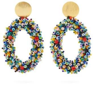 Carolina Herrera Bead Embellished Hoop Clip On Earrings - Womens - Multi