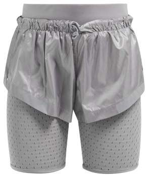 adidas by Stella McCartney Run Mesh Panel Performance Shorts - Womens - Silver
