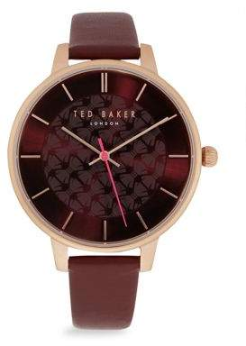 Ted Baker Leather Strap Stainless Steel Round Watch