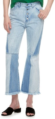 K Lab k/lab High Waisted Two Tone Flare Jeans