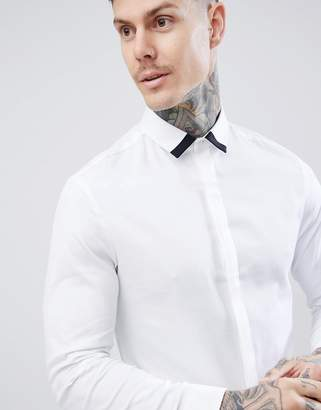 Asos Design DESIGN slim twill shirt with collar contrast detail in white