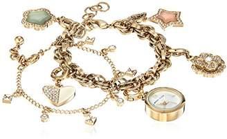 Anne Klein Women's AK/3044CHST Swarovski Crystal Accented -Tone Charm Watch and Bracelet Set