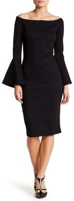 Just Me Off-the-Shoulder Bell Sleeve Dress $99 thestylecure.com