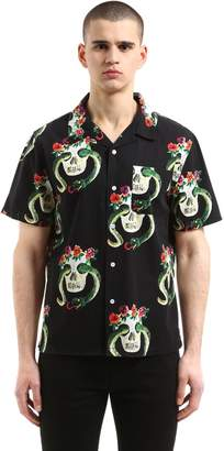 Stussy Skulls Printed Cotton Short Sleeve Shirt