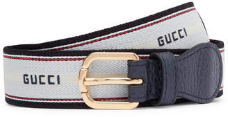 Gucci 3cm Logo-detailed Stretch-webbing And Leather Belt - White
