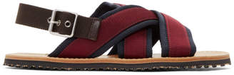 Marni Navy and Burgundy Nastro Sandals