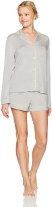 Mae Amazon Brand Women's Sleepwear Notch Collar Long Sleeve and Short Pajama Set