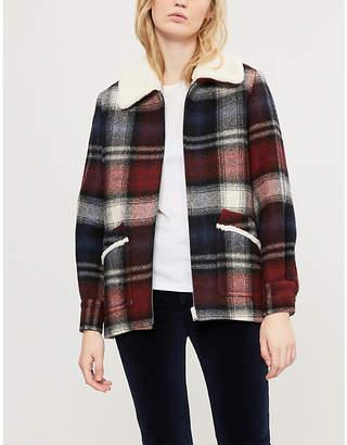 Claudie Pierlot Faux fur-trimmed tartan wool-blend coat