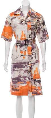Prada Printed Short Sleeve Shirtdress