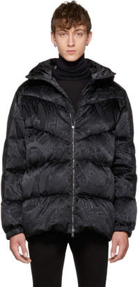 Versace Black Down Jacquard Medusa Jacket