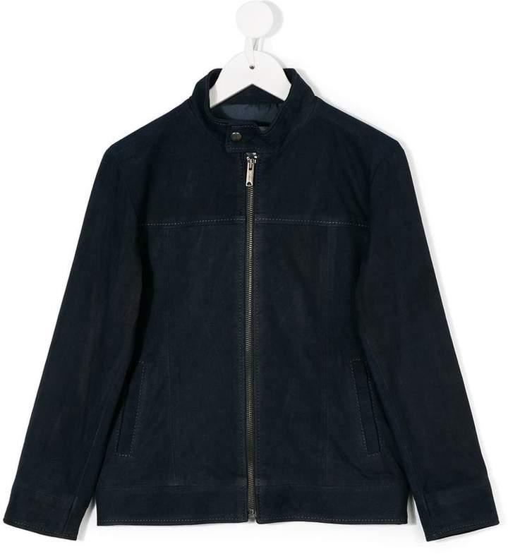 Dondup Kids collarless suede jacket