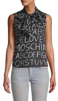 Love Moschino Blackboard Print Tie Neck Blouse