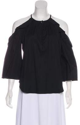 Rachel Zoe Ruffled Cold Shoulder Top