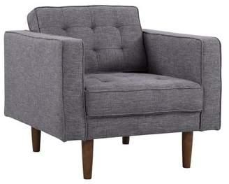 Mid-Century MODERN Armen Living Element Chair in Dark Gray Linen and Walnut Legs
