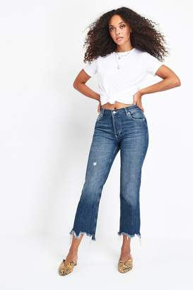 Free People Womens Mid Wash Maggie Straight Fit Jeans - Blue