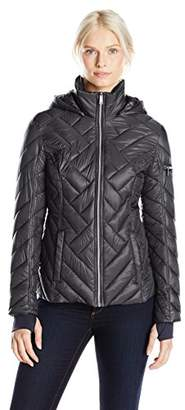 Nautica Women's Hooded Chevron Puffer Jacket $32.23 thestylecure.com