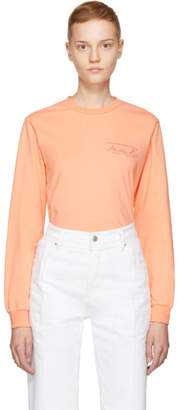 Martine Rose Pink Long Sleeve Classic Logo T-Shirt