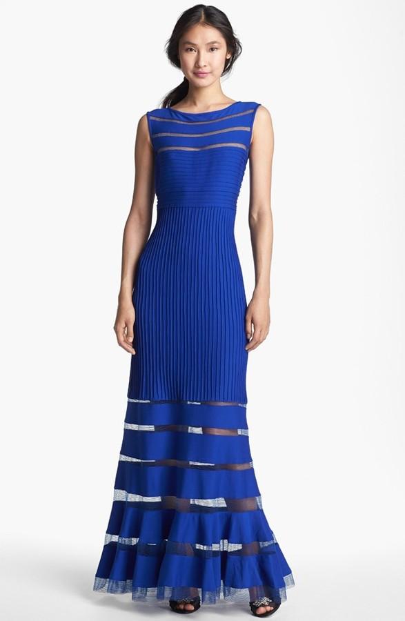 Tadashi Shoji Jersey Illusion Gown
