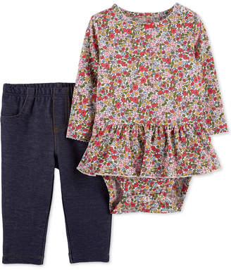 Carter's Carter Baby Girls 2-Pc. Floral-Print Peplum Bodysuit & Pants Set
