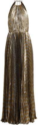 Maria Lucia Hohan Pleated silk-blend lamé halterneck gown