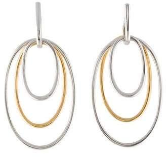 14K Two-Tone Oval Drop Earrings
