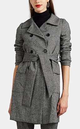 Barneys New York Women's Herringbone Trench Coat - Wht.&blk.