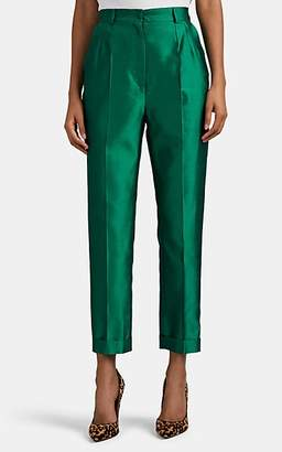 Dolce & Gabbana Women's Silk Shantung Cuffed Trousers - Green