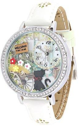 Mini ソフト3 dレディースキャットガーデンファッション学生防水腕時計 ホワイト