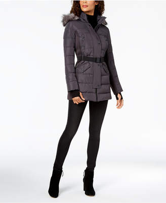 Michael Kors Mixed-Media Hooded Puffer Coat