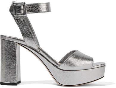 Miu Miu - Textured-leather Platform Sandals - Silver
